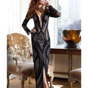 Jovani 99018 Black and Nude Mesh Evening Dress 2